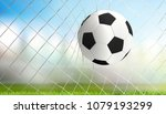 soccer goal white black ball 3d ... | Shutterstock . vector #1079193299