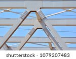 white steel wall with bolts ... | Shutterstock . vector #1079207483