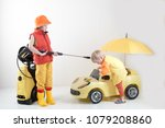 happy child in yellow overalls... | Shutterstock . vector #1079208860