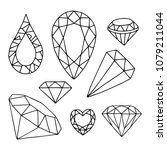 set of diamonds icons. vector... | Shutterstock .eps vector #1079211044