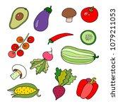 lovely vector set with... | Shutterstock .eps vector #1079211053