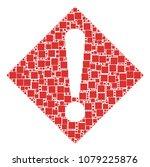 warning mosaic icon of square...
