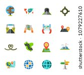 geolocation icon set.... | Shutterstock .eps vector #1079227610