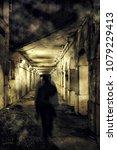 a scary ghost walking in a dark ... | Shutterstock . vector #1079229413