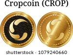 set of physical golden coin... | Shutterstock .eps vector #1079240660