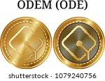set of physical golden coin...   Shutterstock .eps vector #1079240756