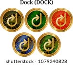 set of physical golden coin... | Shutterstock .eps vector #1079240828