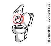 please do not litter in toilet... | Shutterstock .eps vector #1079248598