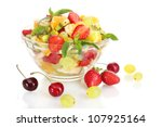 glass bowl with fresh fruits... | Shutterstock . vector #107925164