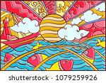 hand drawn pop art wallpaper... | Shutterstock .eps vector #1079259926