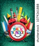 back to school text in red... | Shutterstock .eps vector #1079261888