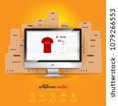 shopping online on website or...   Shutterstock .eps vector #1079266553