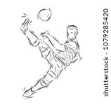 football player vector by hand... | Shutterstock .eps vector #1079285420