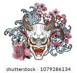 japanese demon's mask tattoo... | Shutterstock .eps vector #1079286134