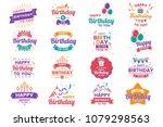 happy birthday vector logo for... | Shutterstock .eps vector #1079298563