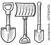 Doodle style shovel sketch in vector format. Set includes spade, snow shovel, and entrenching tool. - stock vector