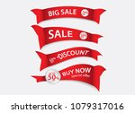 red banner vector  sale banner... | Shutterstock .eps vector #1079317016