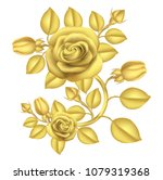 Stock vector bouquet of roses in gold illustration vector 1079319368