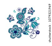 ornate ornament with fantastic... | Shutterstock .eps vector #1079321969