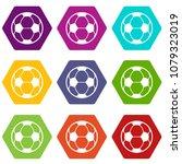 football icons 9 set coloful...