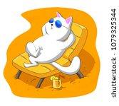cat resting on a sun lounger | Shutterstock . vector #1079325344