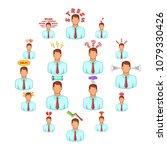stress icons set. cartoon... | Shutterstock .eps vector #1079330426
