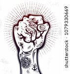 raised inked hand as a fist... | Shutterstock .eps vector #1079330669