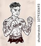 tattooed boxer fighter  player... | Shutterstock .eps vector #1079330693