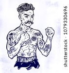 tattooed boxer fighter  player... | Shutterstock .eps vector #1079330696