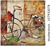 charming streets of old mediterranean towns - stock photo