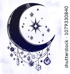 crescent boho moon with... | Shutterstock .eps vector #1079330840