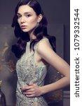 young elegant woman in long... | Shutterstock . vector #1079332544