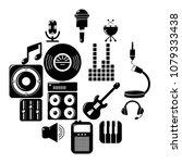 recording studio symbols icons... | Shutterstock .eps vector #1079333438