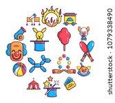 circus icons set. cartoon...   Shutterstock .eps vector #1079338490