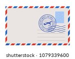 blank envelope with stamp and... | Shutterstock .eps vector #1079339600