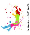 Colorful bright ink splashes and happy person- teenager or woman made of them - stock vector