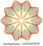 bright guilloche wheel rosette...   Shutterstock .eps vector #1079347079