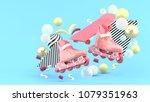 blue sroller skates and blue... | Shutterstock . vector #1079351963