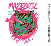 mazestic cat illustration | Shutterstock .eps vector #1079357426