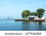 The decommissioned US Coast Guard Station at the mouth of the Cuyahoga River in Cleveland, Ohio - stock photo