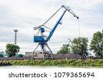 blue crane in cargo port... | Shutterstock . vector #1079365694