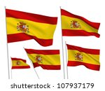 spain vector flags set. 5 wavy...   Shutterstock .eps vector #107937179