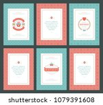 happy birthday cards design set ... | Shutterstock .eps vector #1079391608