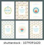 happy birthday cards design set ... | Shutterstock .eps vector #1079391620