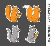 colourful stickers wild animal... | Shutterstock .eps vector #1079398673