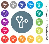 stethoscope flat white icons on ... | Shutterstock .eps vector #1079406140