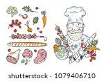 barbecue collection. vector set ... | Shutterstock .eps vector #1079406710