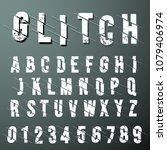 glitch font alphabet template.... | Shutterstock .eps vector #1079406974