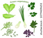 green vegetables isolated on... | Shutterstock .eps vector #1079409653