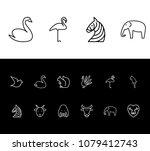 animal icon set and flamingo...